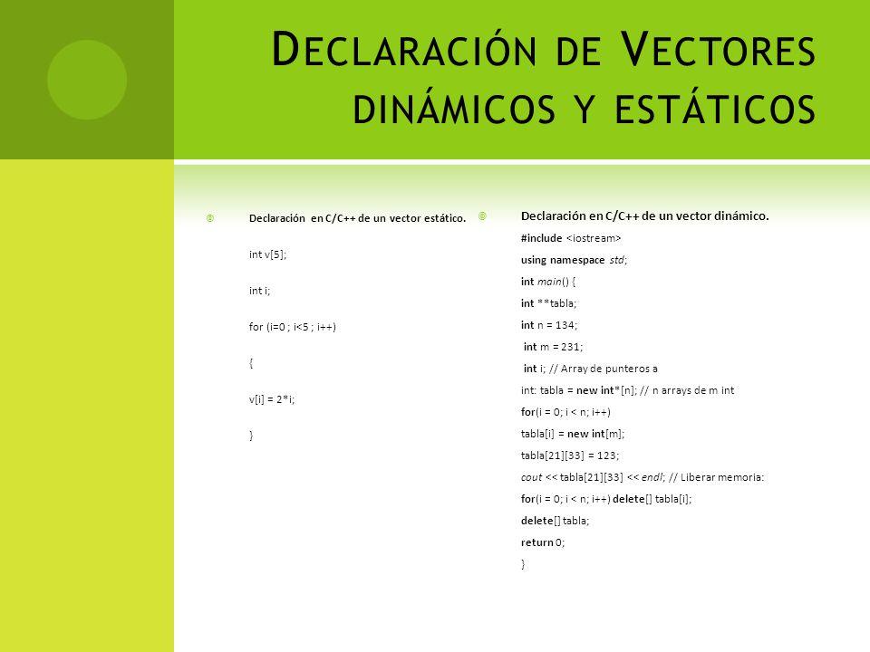 Declaración de Vectores dinámicos y estáticos