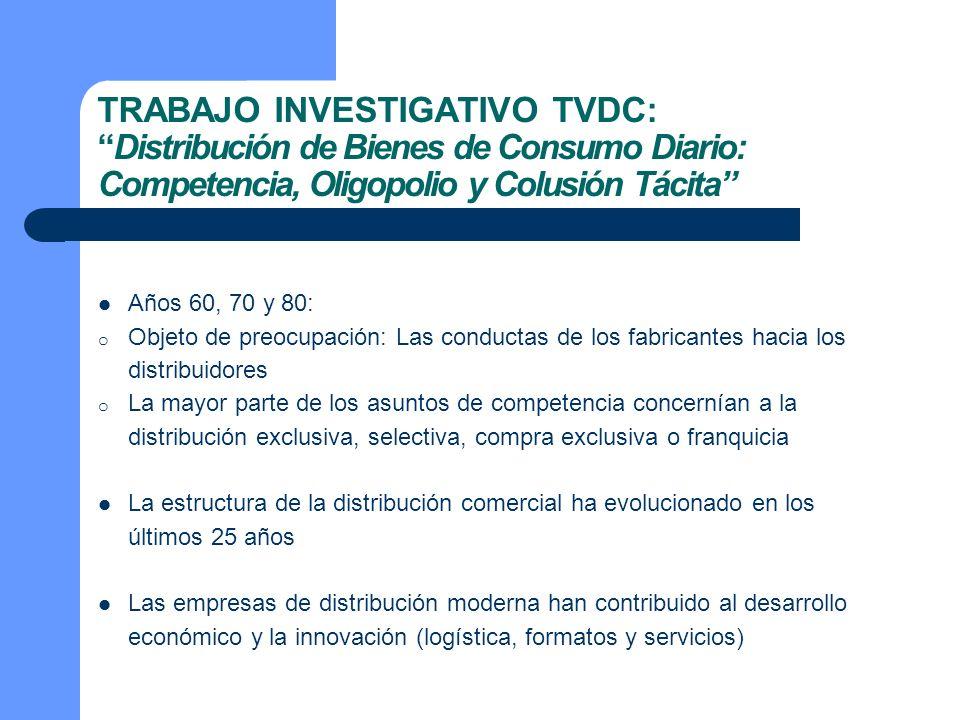 TRABAJO INVESTIGATIVO TVDC: Distribución de Bienes de Consumo Diario: Competencia, Oligopolio y Colusión Tácita