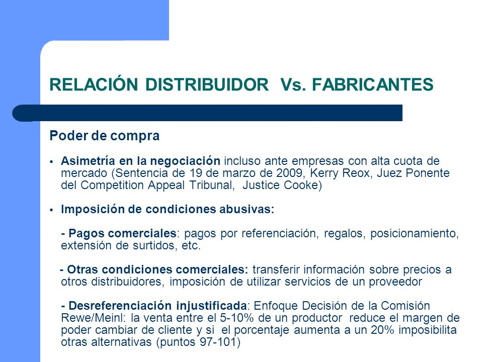 RELACIÓN DISTRIBUIDOR Vs. FABRICANTES