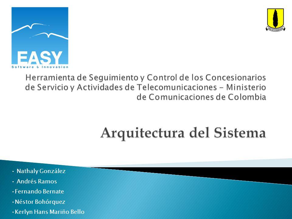 Herramienta de Seguimiento y Control de los Concesionarios de Servicio y Actividades de Telecomunicaciones - Ministerio de Comunicaciones de Colombia Arquitectura del Sistema