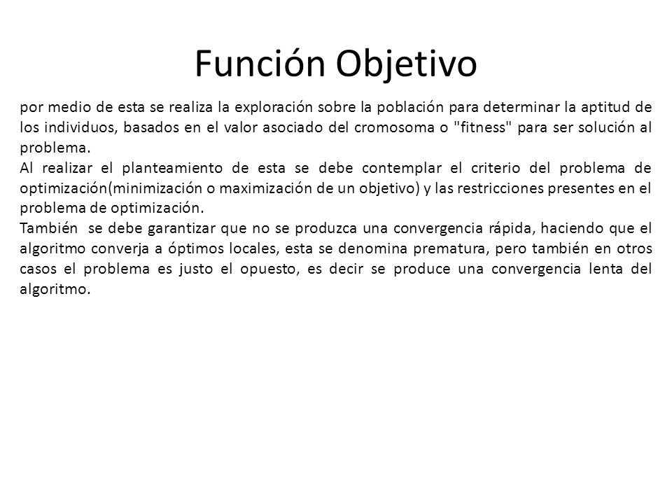Función Objetivo