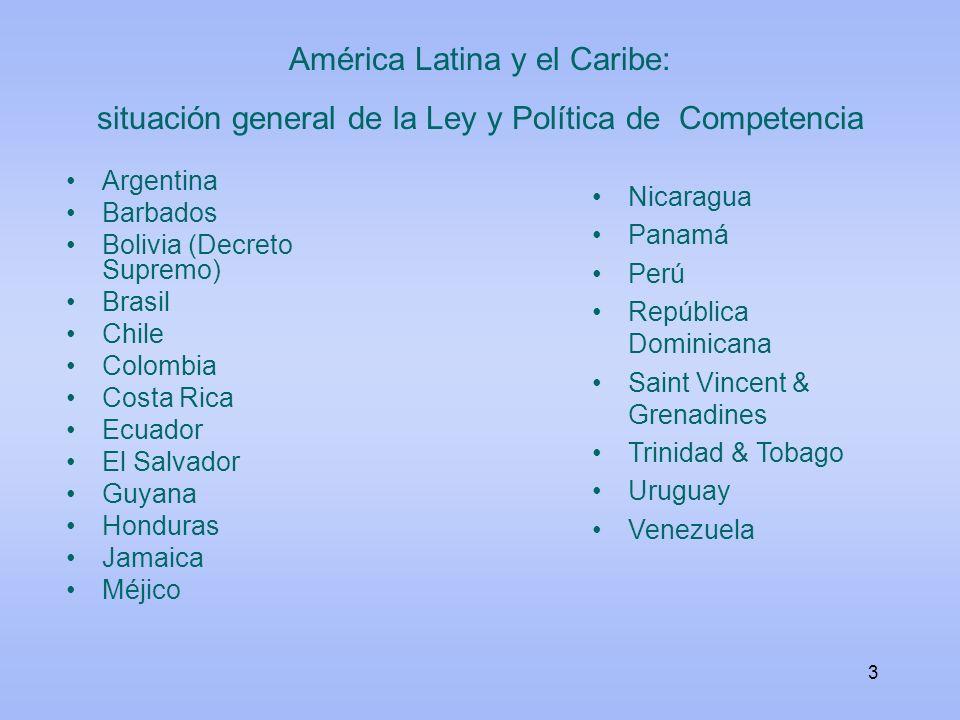 América Latina y el Caribe: situación general de la Ley y Política de Competencia