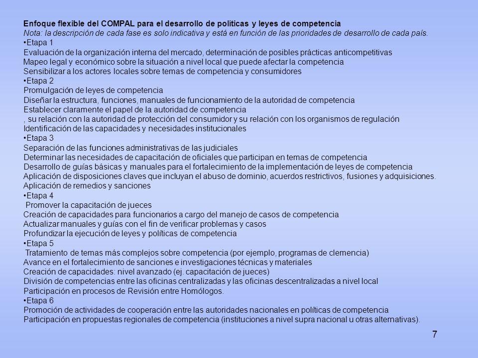 Enfoque flexible del COMPAL para el desarrollo de políticas y leyes de competencia