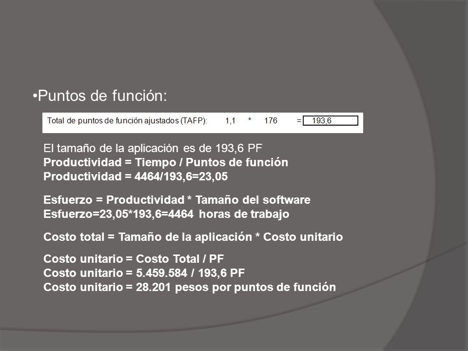 Puntos de función: El tamaño de la aplicación es de 193,6 PF