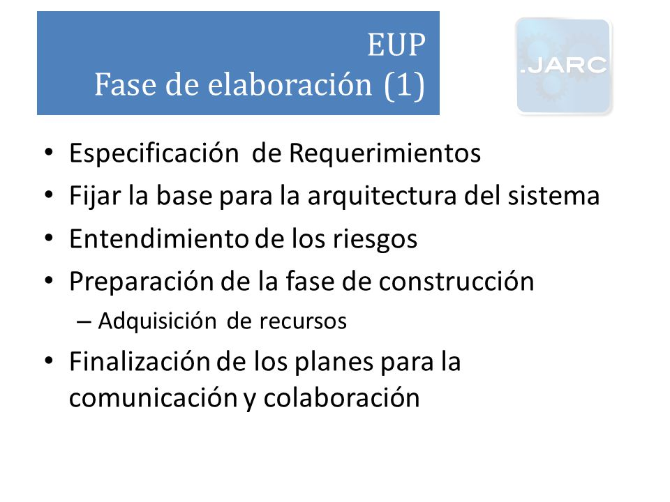 EUP Fase de elaboración (1) Especificación de Requerimientos