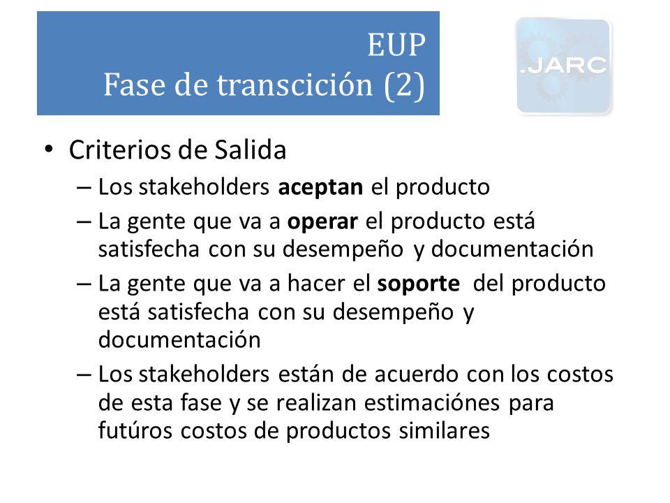 EUP Fase de transcición (2) Criterios de Salida