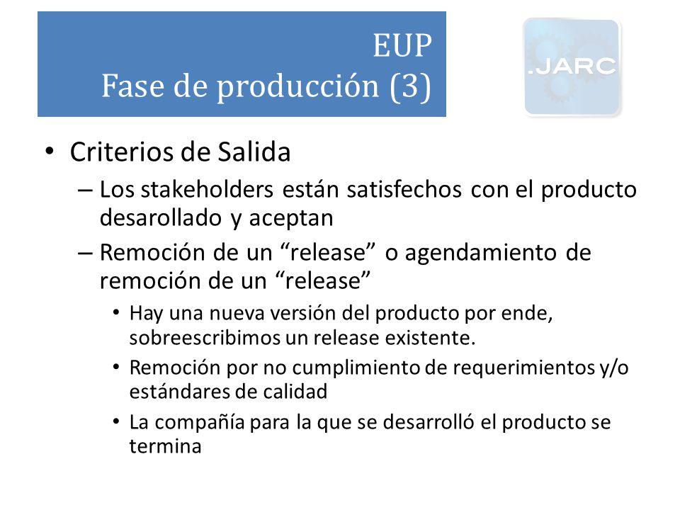EUP Fase de producción (3) Criterios de Salida