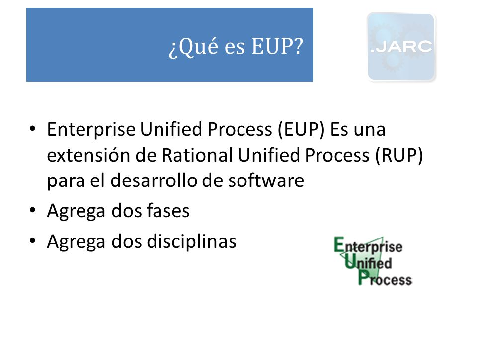 ¿Qué es EUP Enterprise Unified Process (EUP) Es una extensión de Rational Unified Process (RUP) para el desarrollo de software.