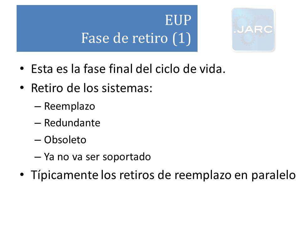 EUP Fase de retiro (1) Esta es la fase final del ciclo de vida.