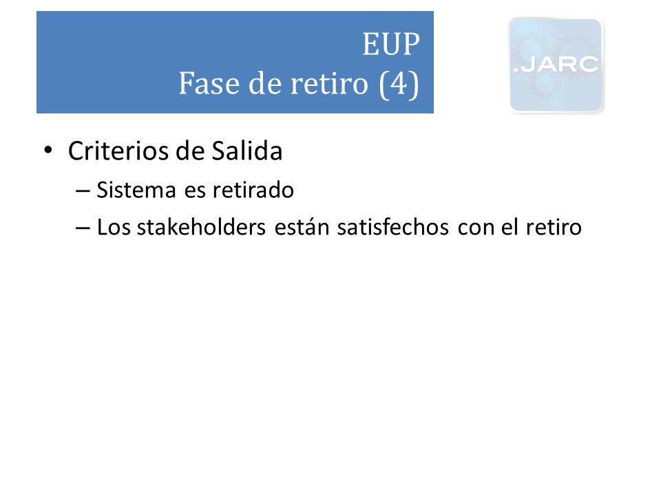 EUP Fase de retiro (4) Criterios de Salida Sistema es retirado