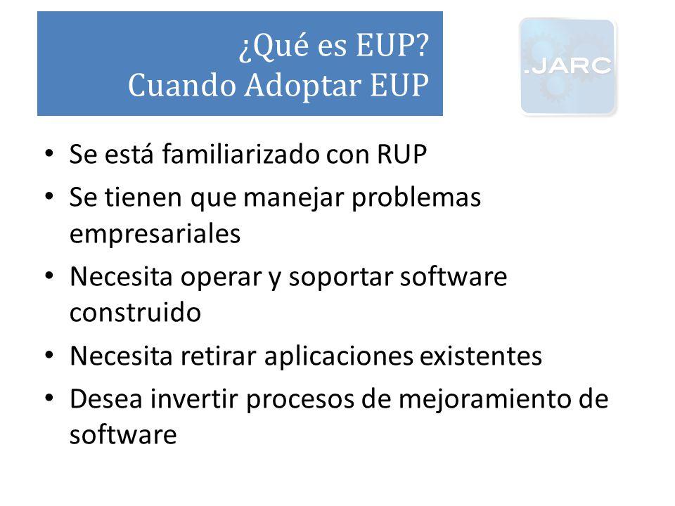 ¿Qué es EUP Cuando Adoptar EUP Se está familiarizado con RUP