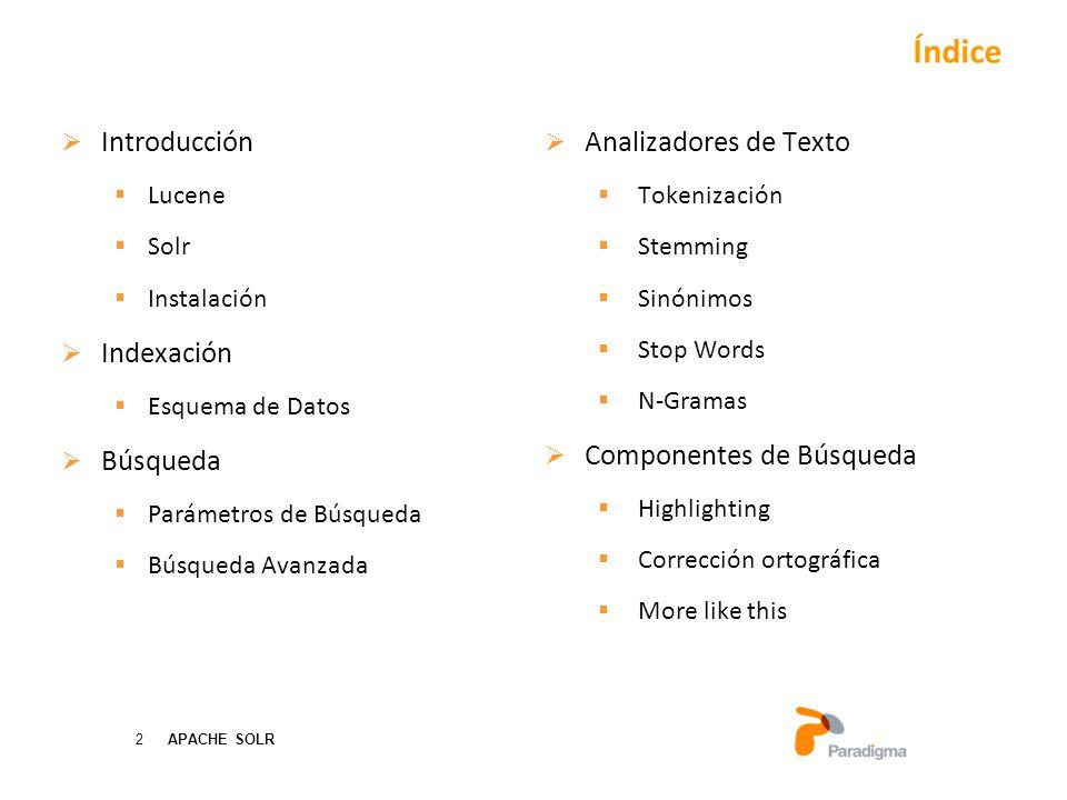Índice Introducción Indexación Búsqueda Analizadores de Texto