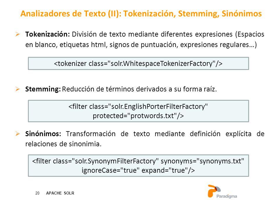 Analizadores de Texto (II): Tokenización, Stemming, Sinónimos