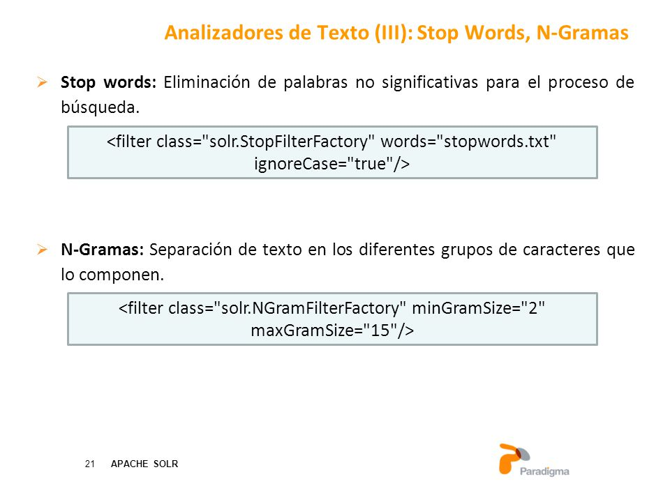 Analizadores de Texto (III): Stop Words, N-Gramas