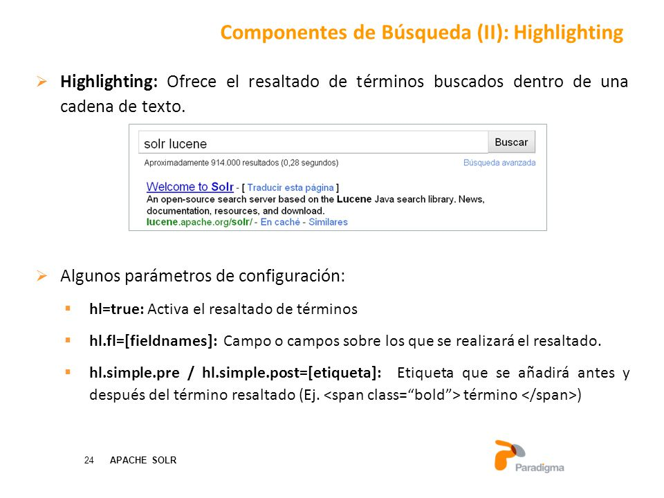 Componentes de Búsqueda (II): Highlighting