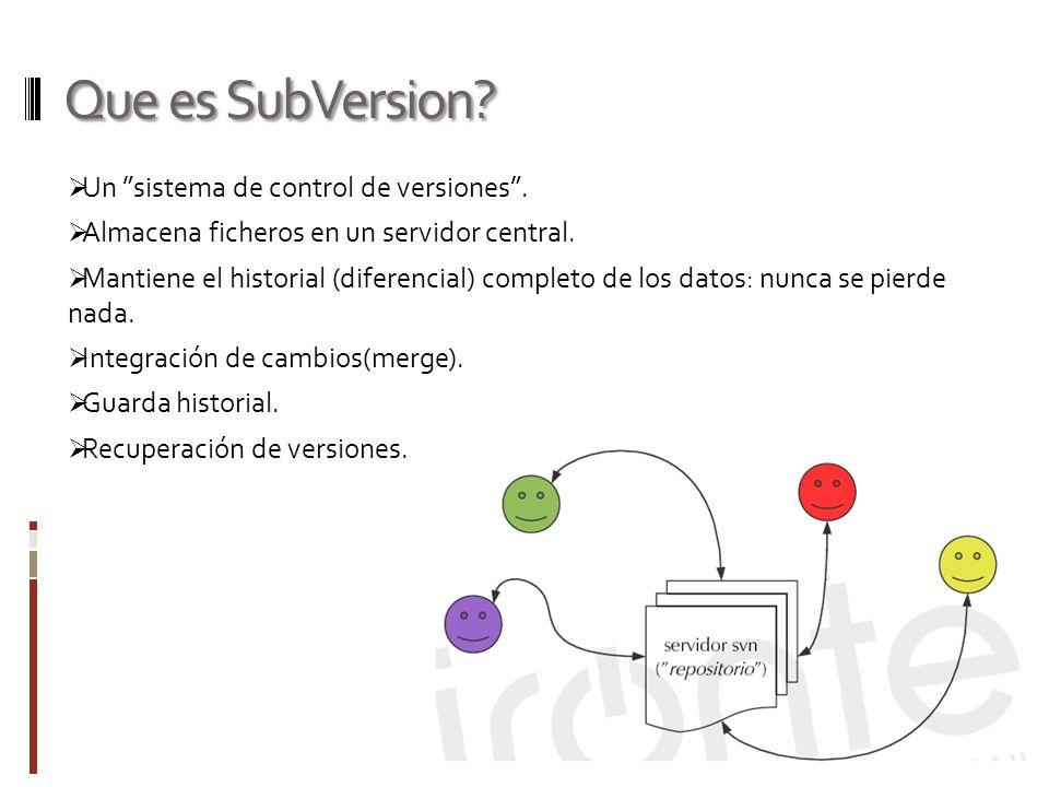 Que es SubVersion Un sistema de control de versiones .