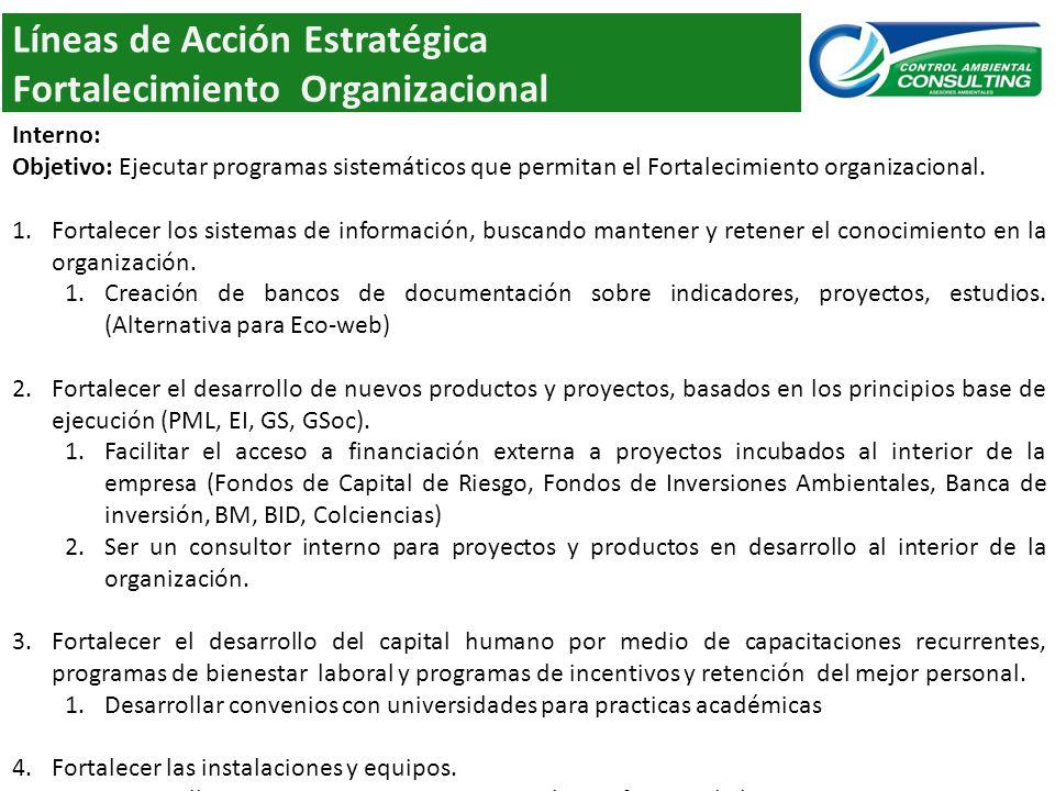 Líneas de Acción Estratégica Fortalecimiento Organizacional