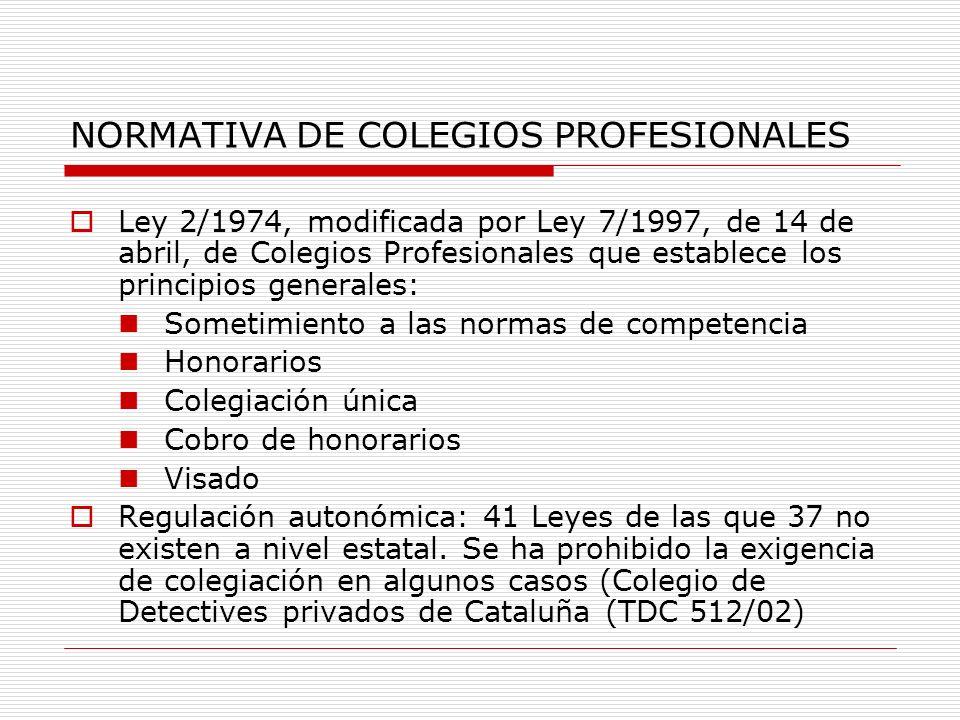 NORMATIVA DE COLEGIOS PROFESIONALES
