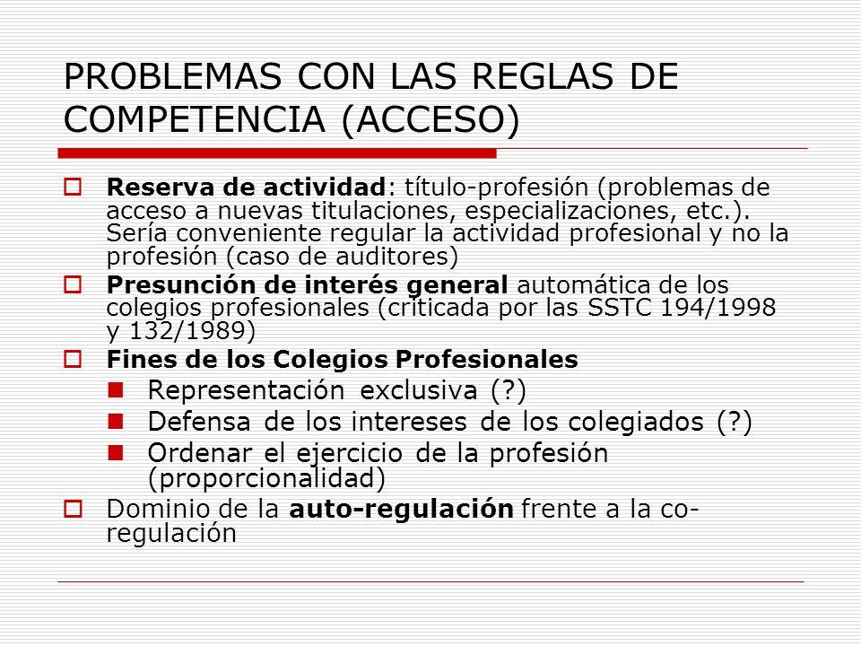 PROBLEMAS CON LAS REGLAS DE COMPETENCIA (ACCESO)