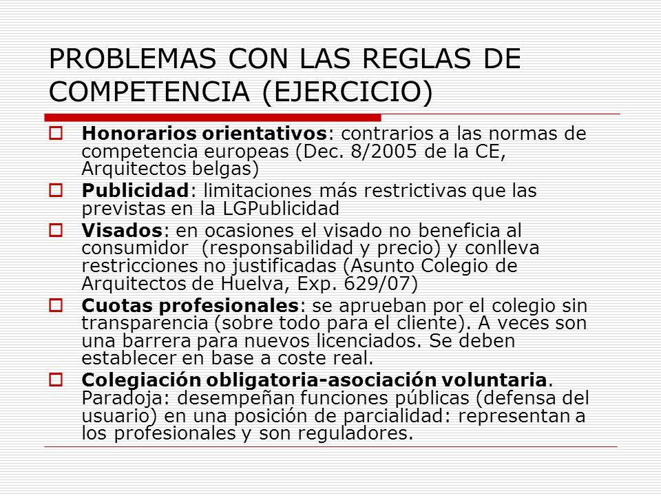 PROBLEMAS CON LAS REGLAS DE COMPETENCIA (EJERCICIO)