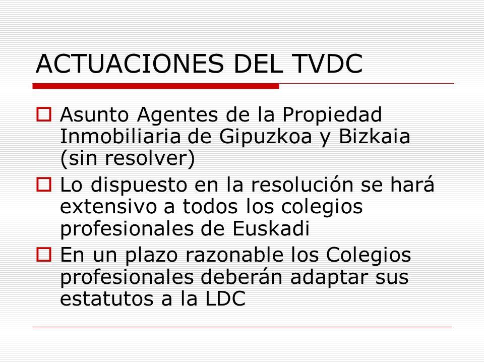 ACTUACIONES DEL TVDC Asunto Agentes de la Propiedad Inmobiliaria de Gipuzkoa y Bizkaia (sin resolver)