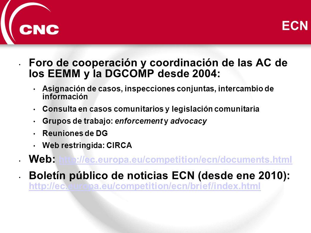 ECN Foro de cooperación y coordinación de las AC de los EEMM y la DGCOMP desde 2004: