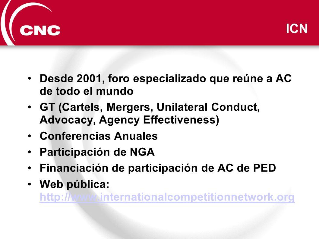 ICN Desde 2001, foro especializado que reúne a AC de todo el mundo