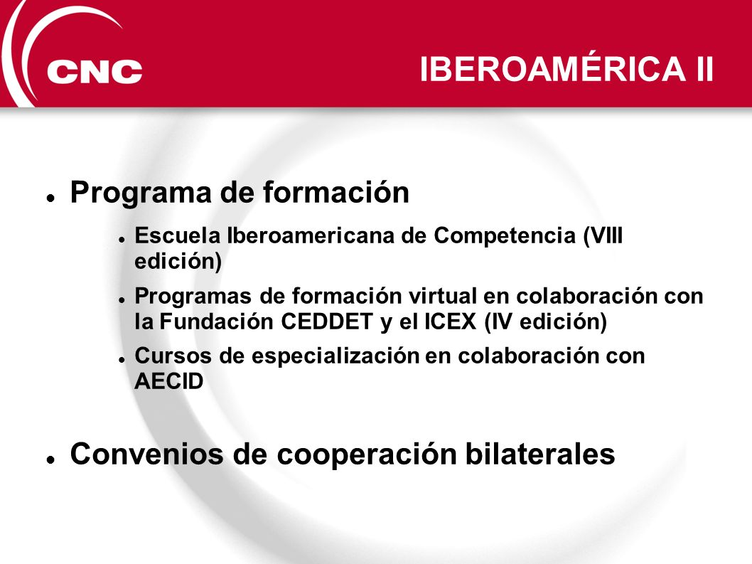 IBEROAMÉRICA II Programa de formación