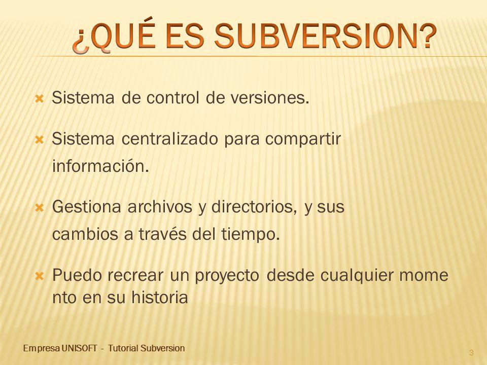 ¿QUÉ ES SUBVERSION Sistema de control de versiones.