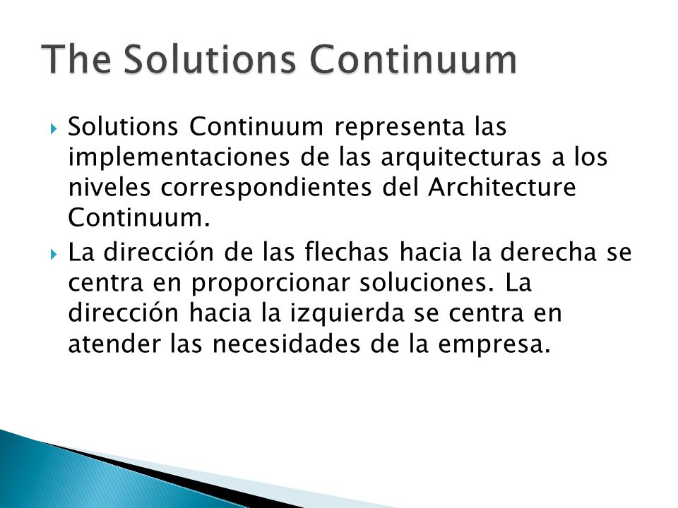 The Solutions Continuum