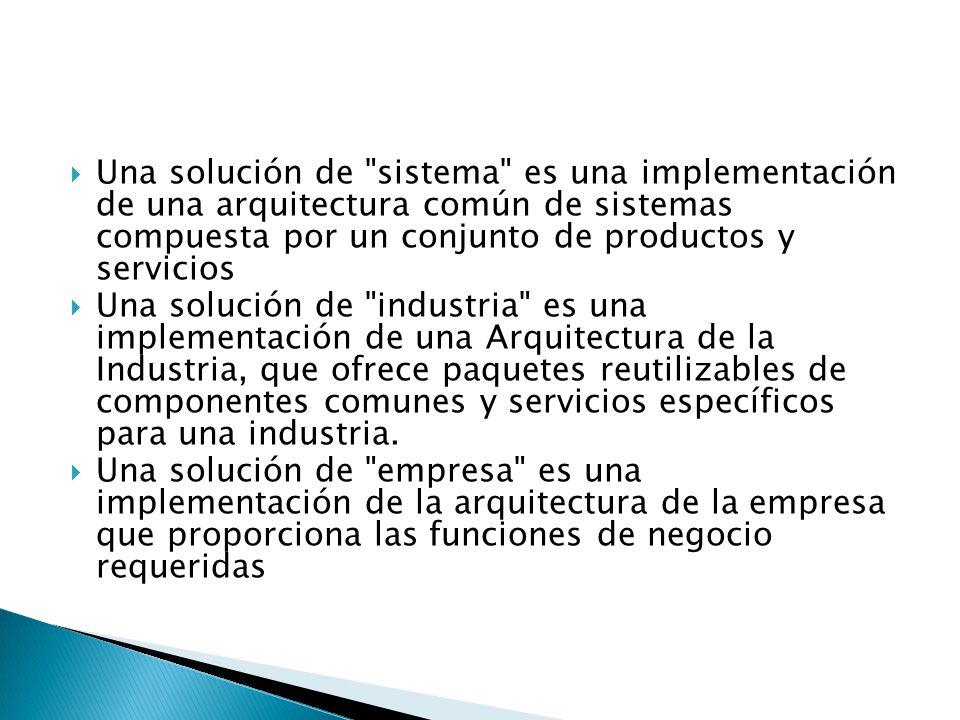 Una solución de sistema es una implementación de una arquitectura común de sistemas compuesta por un conjunto de productos y servicios