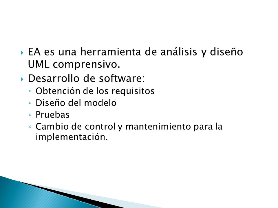 EA es una herramienta de análisis y diseño UML comprensivo.