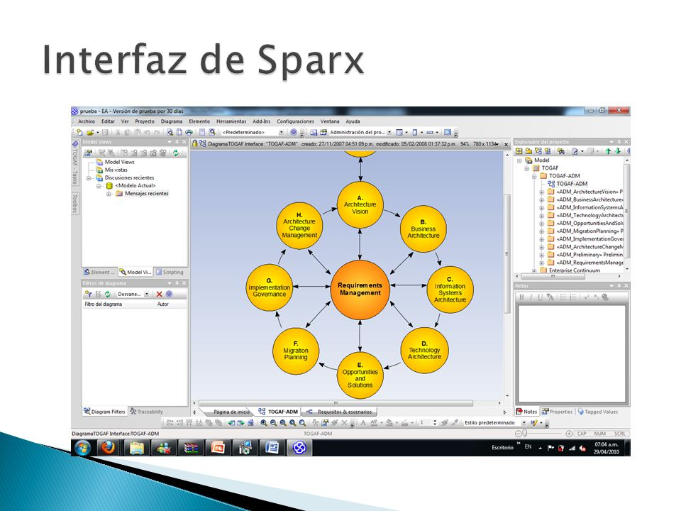 Interfaz de Sparx