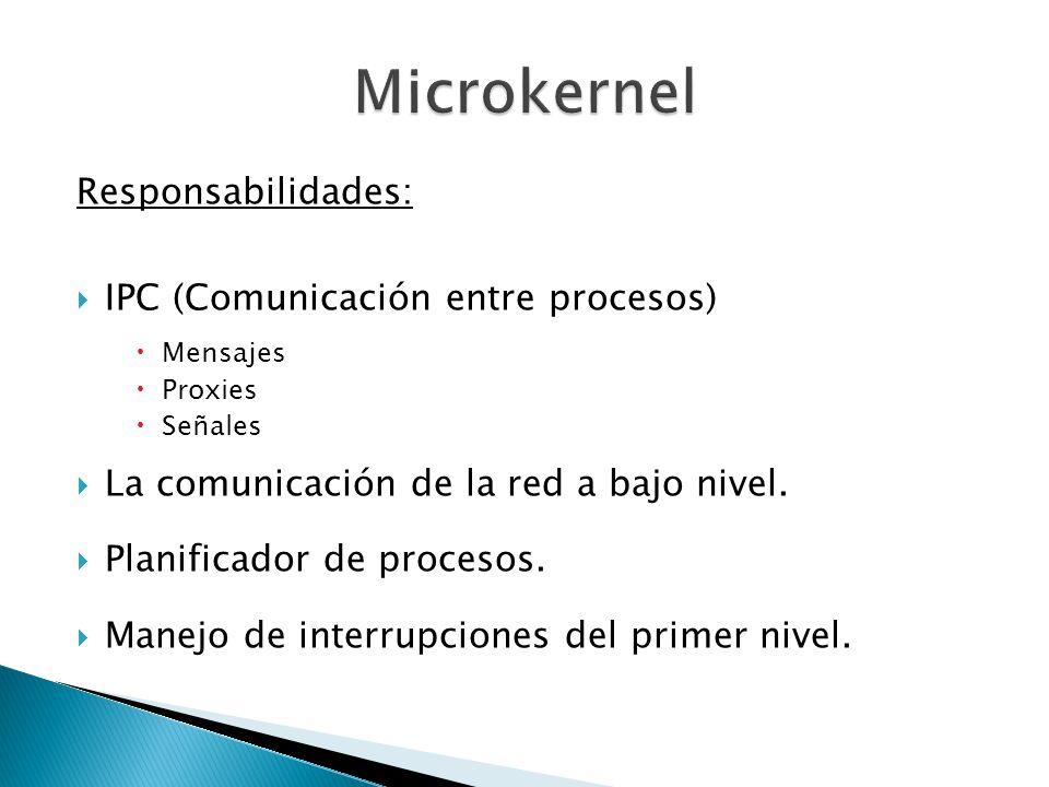 Microkernel Responsabilidades: IPC (Comunicación entre procesos)
