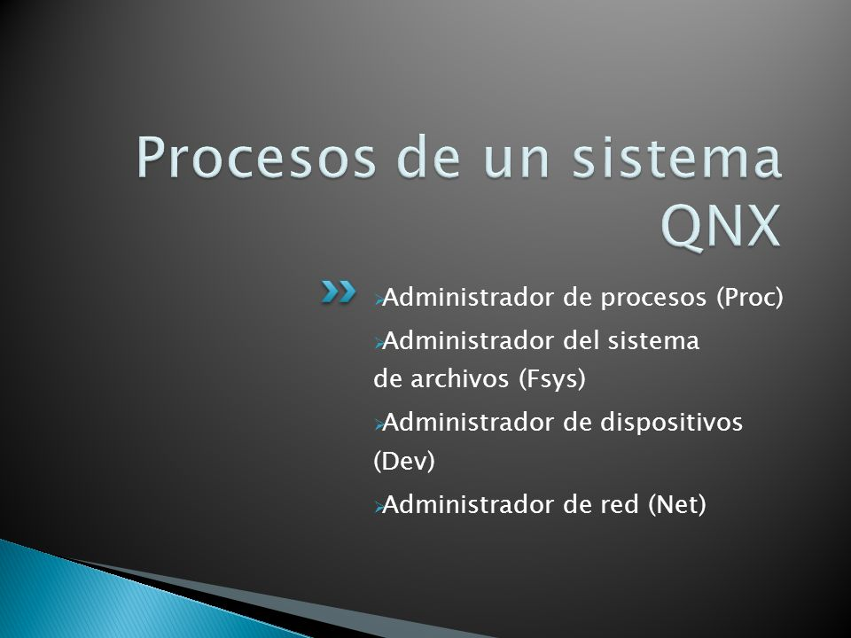 Procesos de un sistema QNX