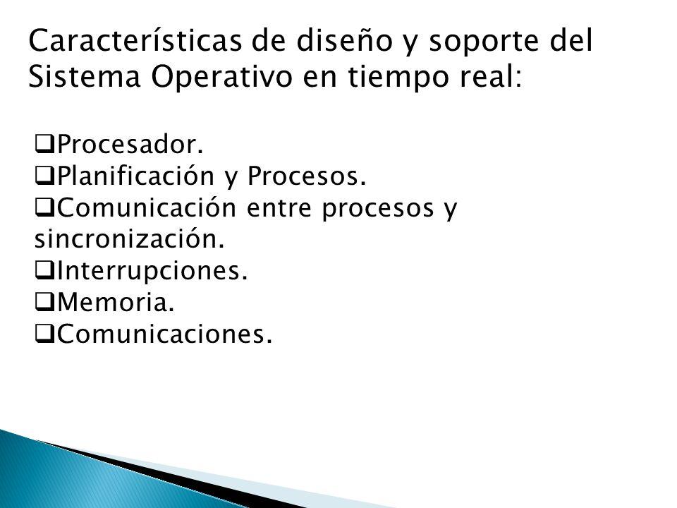 Características de diseño y soporte del Sistema Operativo en tiempo real: