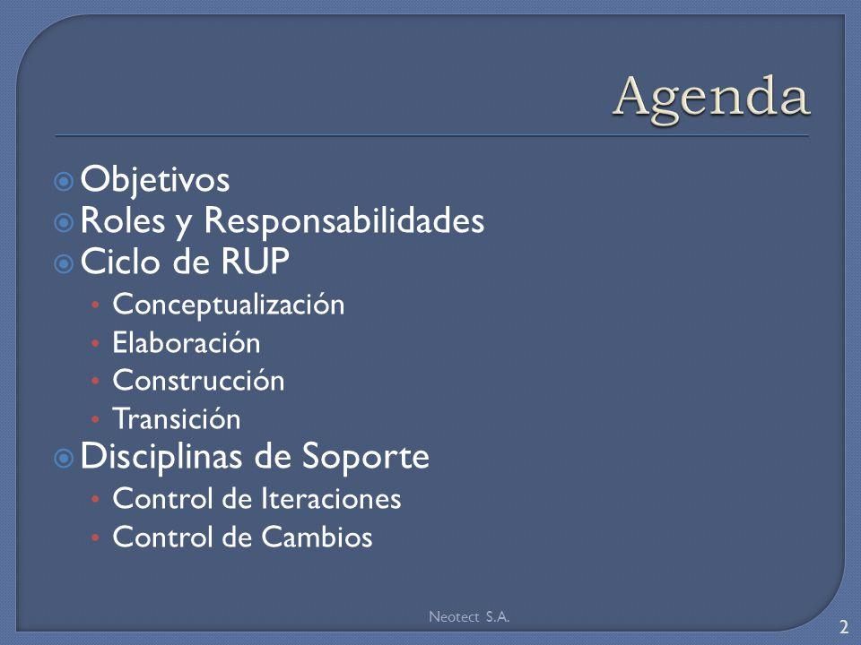 Agenda Objetivos Roles y Responsabilidades Ciclo de RUP
