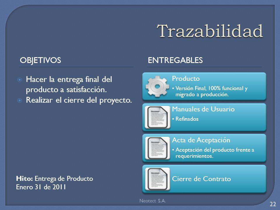 Trazabilidad Objetivos Entregables