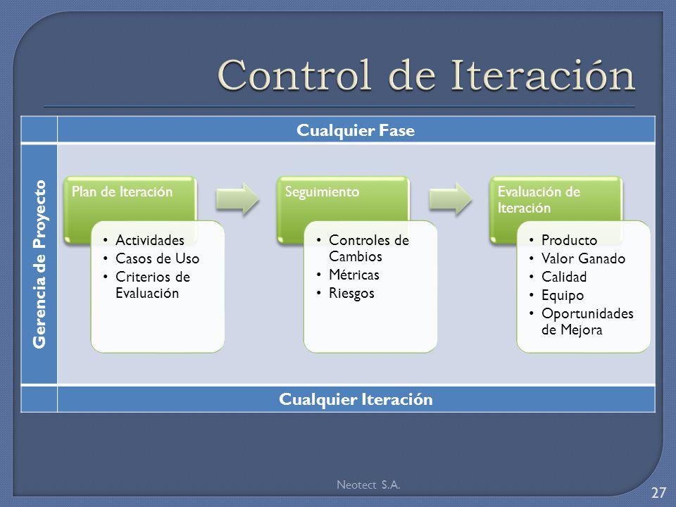 Control de Iteración Cualquier Fase Gerencia de Proyecto