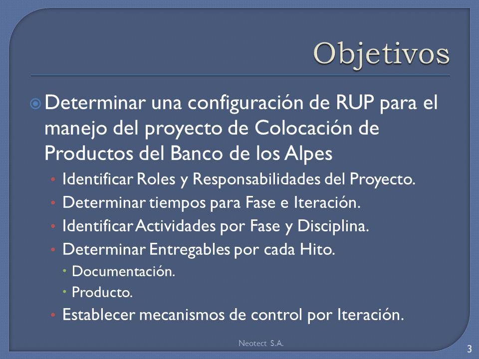 Objetivos Determinar una configuración de RUP para el manejo del proyecto de Colocación de Productos del Banco de los Alpes.