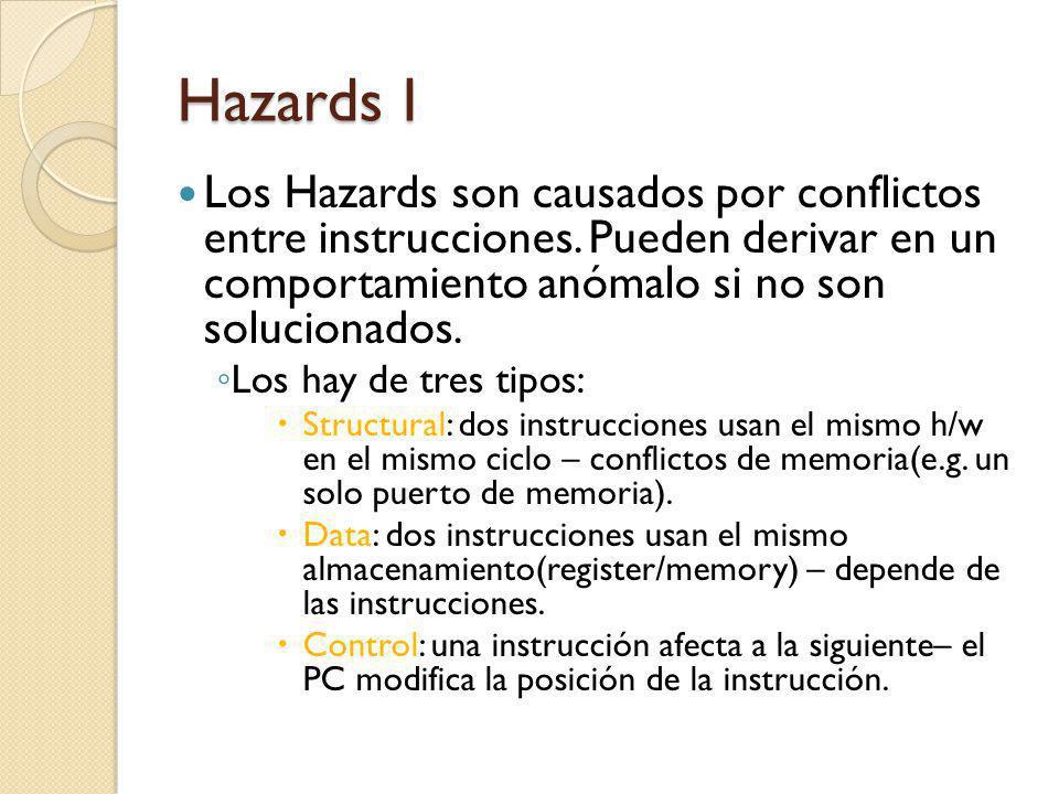 Hazards I Los Hazards son causados por conflictos entre instrucciones. Pueden derivar en un comportamiento anómalo si no son solucionados.