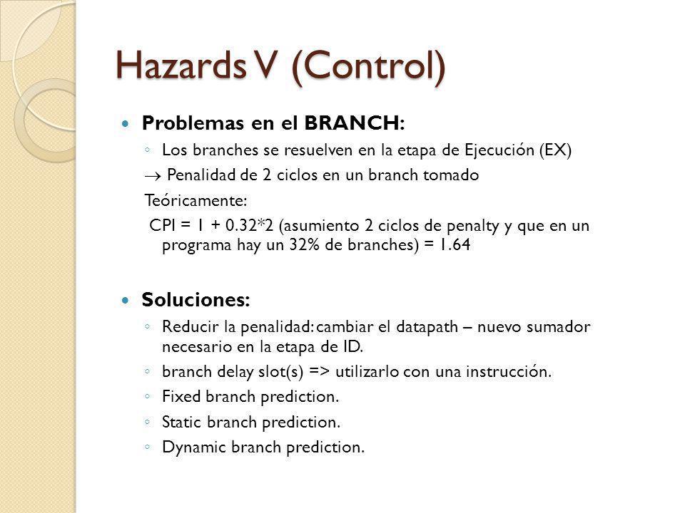 Hazards V (Control) Problemas en el BRANCH: Soluciones: