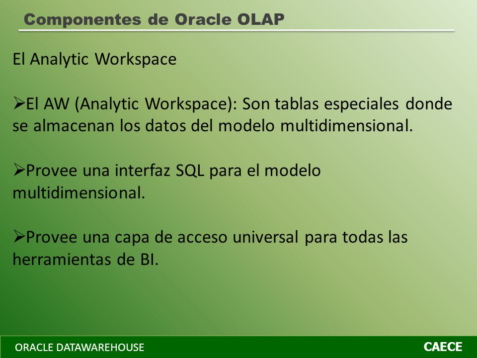 ORACLE DATAWAREHOUSE CAECE