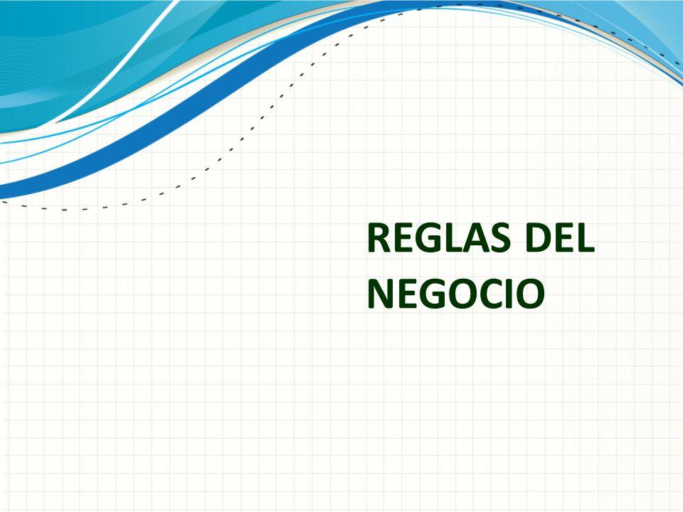 REGLAS DEL NEGOCIO Use un encabezado de sección para cada uno de los temas, de manera que la transición resulte clara para el público.