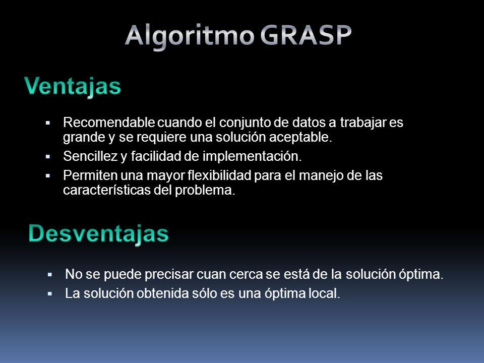 Algoritmo GRASP Ventajas Desventajas