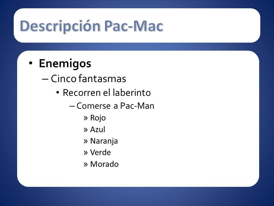 Descripción Pac-Mac Enemigos Cinco fantasmas Recorren el laberinto
