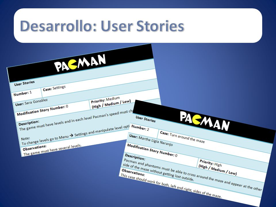 Desarrollo: User Stories