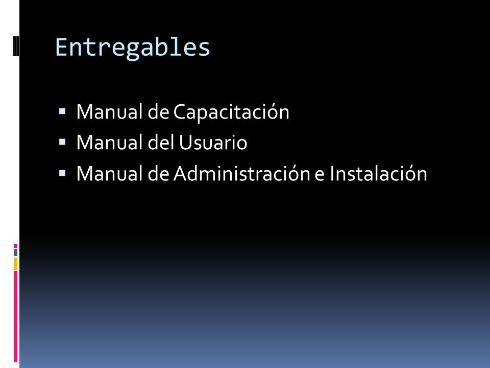 Entregables Manual de Capacitación Manual del Usuario