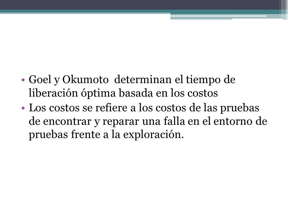 Goel y Okumoto determinan el tiempo de liberación óptima basada en los costos