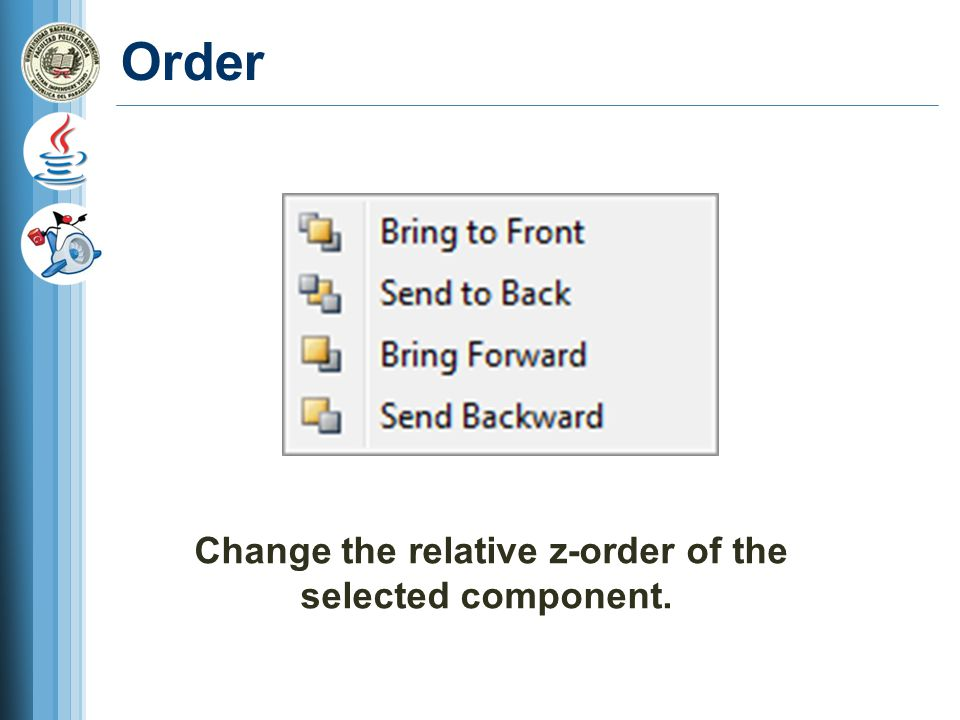 Change the relative z-order of the selected component.
